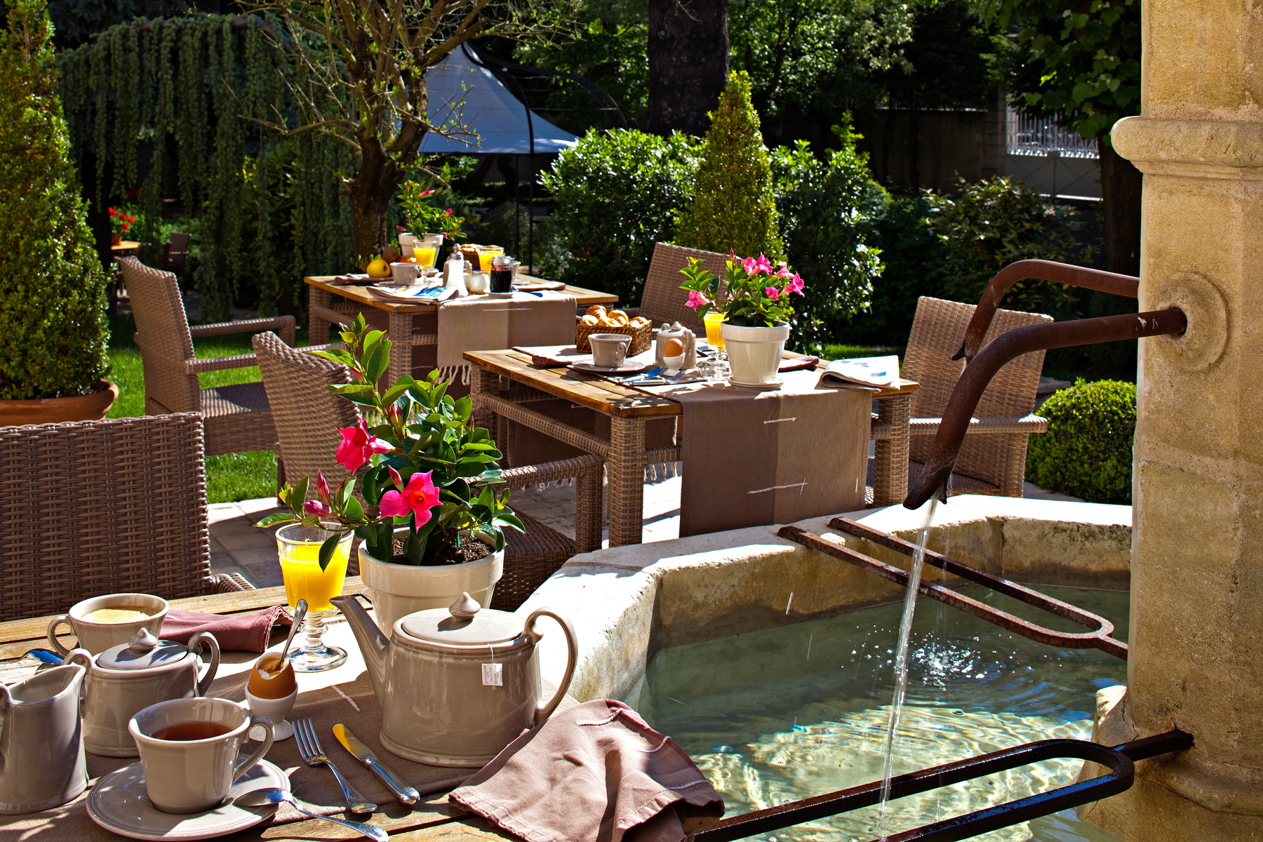 Hostellerie Cèdre and Spa Beaune Breakfast on the terrace